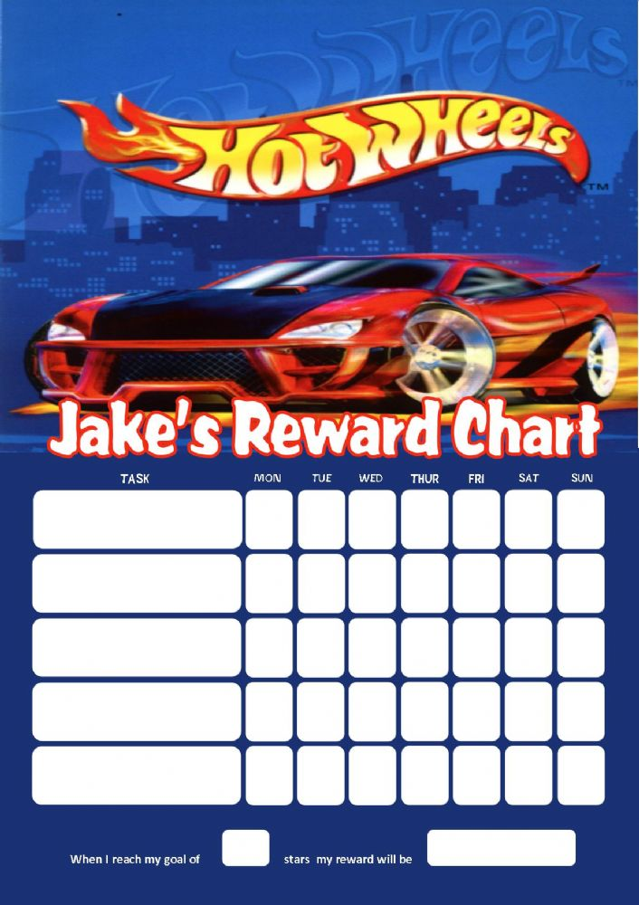Personalised Hotwheels Reward Chart Adding Photo Option